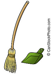 Broom and Scoop - Cartoon Illustration, Vector