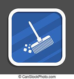 Broom blue flat design square web icon
