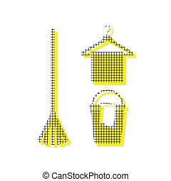 Broom, bucket and hanger sign. Vector. Yellow icon with square p