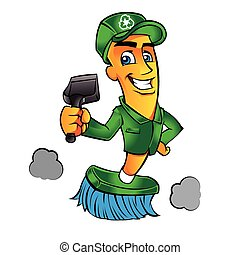 Broom cartoon Broom man