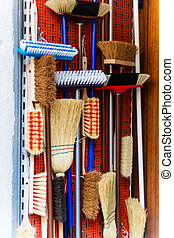 broom cupboard - cabinet with different kinds of broom