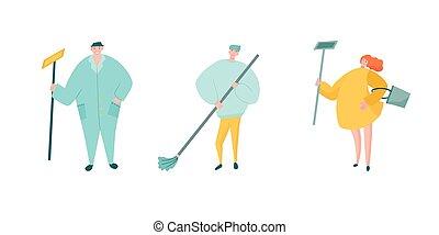 broom., firma, uniform, wischmop, arbeiter, putzen, overalls