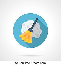 Broom flat round vector icon