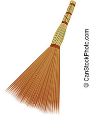 Broom for cleaning. Object on a white background.
