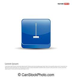 Broom Icon - 3d Blue Button