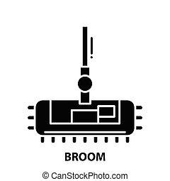 broom icon, black vector sign with editable strokes, concept illustration