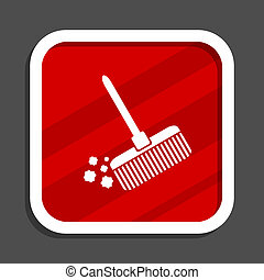 Broom icon. Flat design square internet banner.