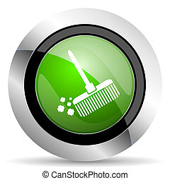 broom icon, green button, clean sign