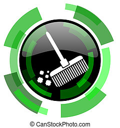 broom icon, green modern design isolated button, web and mobile app design illustration