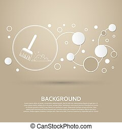 Broom icon on a brown background with elegant style and modern design infographic. Vector