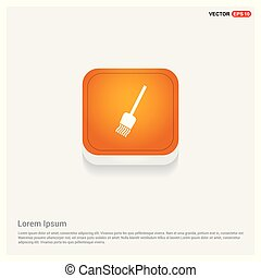 broom icon. Orange Abstract Web Button