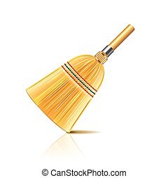 Broom isolated on white photo-realistic vector illustration