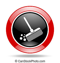 broom red and black web glossy round icon