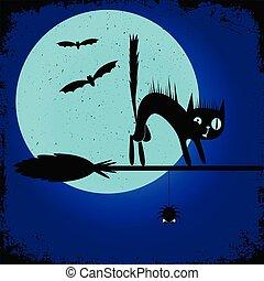 broom., sorcière, affiche, halloween, chat, conception, fête, editable, noir, bannière, template.