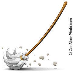 broom sweep floor vector illustration