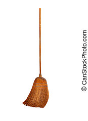 Wooden broom, image is isolated on white background