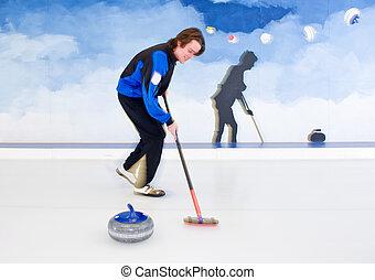 brooming, curling