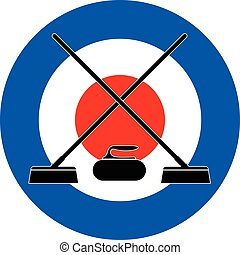 Brooms and stone for curling on Curling