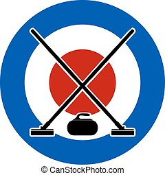 Brooms and stone for curling on Curling House. Vector...