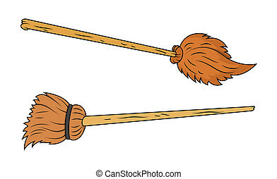 Brooms Vectors - Drawing Art of Halloween Brooms Vector...