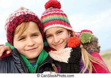 bror och syster, stående, in, vinter tajma