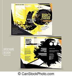 brosúra, elegáns, tervezés, tri-fold