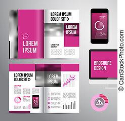 broschüre, design, schablone