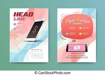 broschüre, technologie, flieger, design