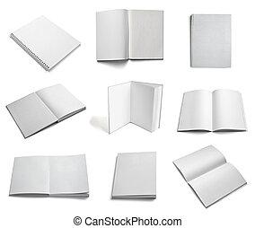 broschyr, anteckningsbok, lärobok, vit, tom, papper, mall