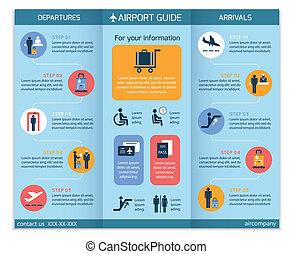 broschyr, flygplats, infographic, affär