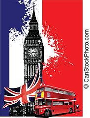 broschyr, london, täcka, ima