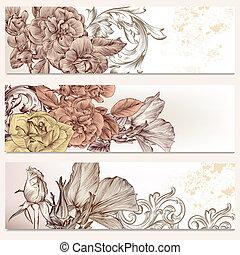 broschyr, vektor, sätta, in, blommig, stil, med, blomningen