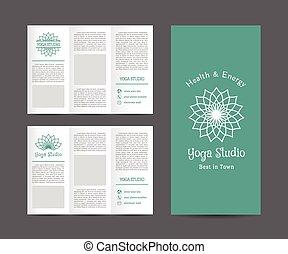 broschyr, yoga, vektor, studio, mall