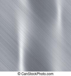 brossé, métallique, acier, plaque