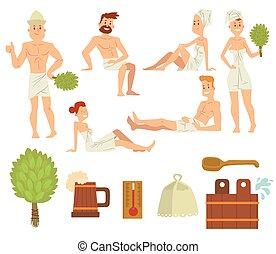 brossage, concept, délassant, gens, couple, jeune, bain, santé, vector., spa, soin