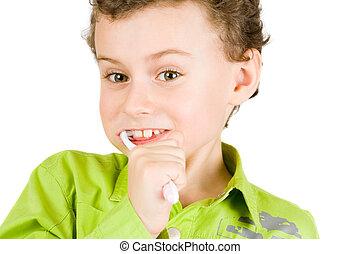 brossage, enfant, dents