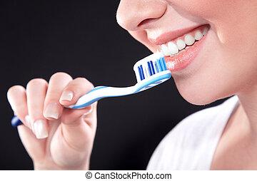brossage, femme, dents