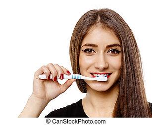 brossage, femme, elle, dents