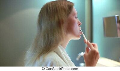 brossage, femme, jeune, teeth.