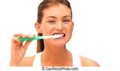 brossage, femme, teeths, elle