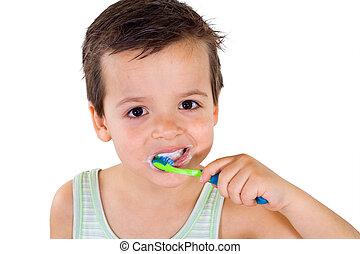 brossage, garçon, peu, dents