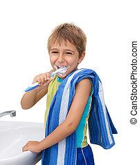 brossage, garçon, peu, sien, dents