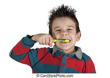 brossage, garçon, sien, dents