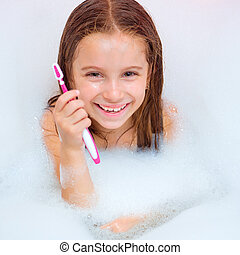 brossage, girl, dents, bain