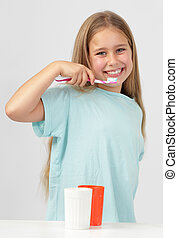 brossage, girl, dents