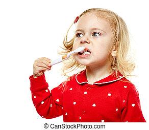 brossage, girl, enfantqui commence à marcher, elle, dents
