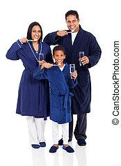 brossage, indien, famille, dents