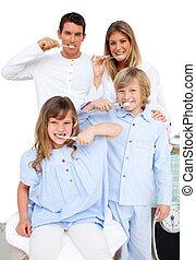 brossage, leur, gai, famille, dents