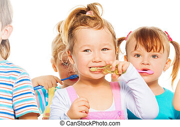brossage, leur, gosses, dents