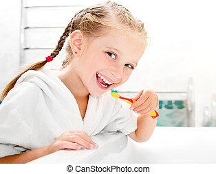 brossage, petite fille, dents